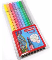 stabilo pen 68 fibre tip pens – wallet of 8 assorted pastel colours – (68/8-01)
