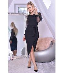 ctw grace organza mesh sleeves wrap dress zwart
