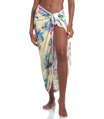 maaji floral wrap cover-up skirt in yellow at nordstrom