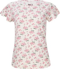 camiseta mujer print flores color blanco, talla l
