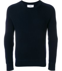 ami crew neck elbow patches fisherman's rib sweater - blue