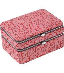 bey-berk 6-piece manicure & travel jewelry case set - red