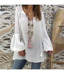 zanzea mujeres más tapa del tamaño tee camiseta llano básico largas de la túnica de la blusa de la manga de bell -blanco