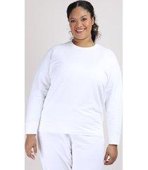 blusão de moletom feminino plus size mindset decote redondo off white