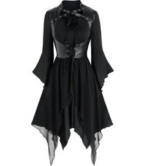 lace-up handkerchief dress and faux leather vest