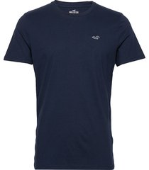 crew solids t-shirts short-sleeved blå hollister