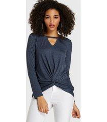 camiseta de manga larga con cuello en v y corte azul marino