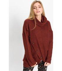 high-low trui met hoorn knopen