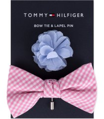 tommy hilfiger men's gingham bow tie & floral lapel pin