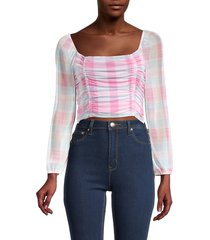 bcbgeneration women's checked ruched crop top - pink multi - size s