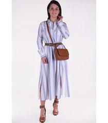 forte_forte jurk my dress 7075 blauw wit