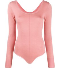 forte forte long-sleeve fitted bodysuit - pink