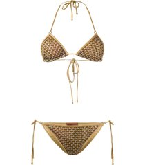 missoni mare sequin embroidered bikini set - gold