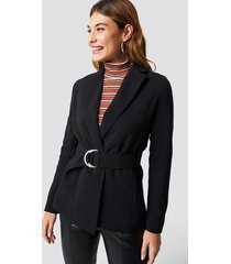 na-kd classic buckle belted blazer - black