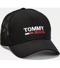 tommy hilfiger men's tommy jeans trucker hat black -