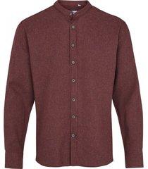 kronstadt dean henley overhemd bordeaux flanel