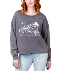 rebellious one juniors' only good vibes graphic sweatshirt