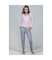 pijama teens bella fiore modas gola v calça jogger moletom rosa