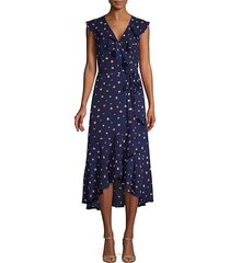 dot print ruffle wrap dress