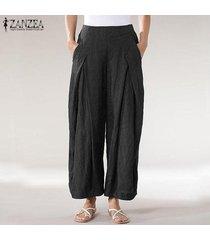 zanzea mujeres ocasionales sueltan los pantalones largos de las señoras bolsillos anchos el tamaño de la pierna pantalones plus -negro