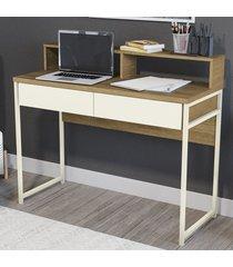 mesa escrivaninha 2 gavetas j972-frow freijó/off white - kappesberg