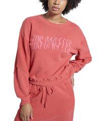 women's current/elliott the pieced heritage graphic sweatshirt, size 3 - coral