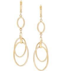 italian gold circular drop earrings in 14k gold