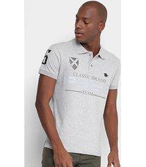 camisa polo rg 518 piquet estampada bordado masculina