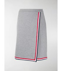 thom browne ribbed rwb-trim a-line wrap skirt