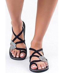sandalias de playa estilo romano zapatillas de dedo del pie cuerda de cáñamo tacón plano zapatos de mujer