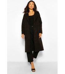 longline met zakdetail nepwollen jas, black