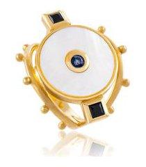 anel view amarelo c/ madreperola,safira e spinel b
