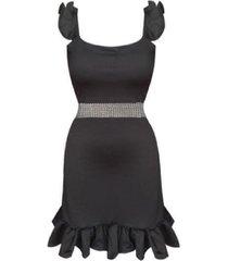 vestido de tiras con bolero -sarab- negro