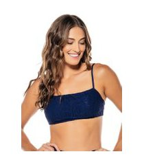 top flee alice renda azul marinho
