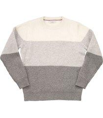 brunello cucinelli virgin wool, cashmere and silk rib colour block sweater
