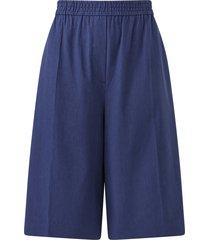 tan tailored linen-blend shorts