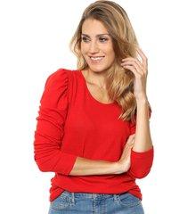 sweater rojo destino collection frunce lanilla