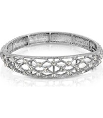 2028 silver-tone crystal slim filigree stretch bracelet
