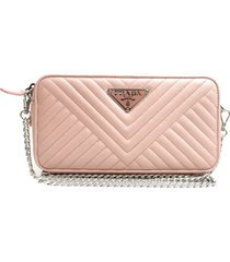 prada nappa impuntu wallet on chain pink, light pink sz: