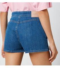 see by chloé women's signature rainbow denim shorts - denim - eu 40/uk 12