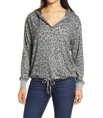 women's lucky brand leopard cloud jersey hoodie