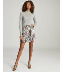 reiss aurellie - semi-sheer slim-fit top in grey marl, womens, size xl
