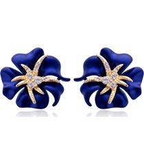 elegante brilliant blue red blooming flowers orecchini a forma di strass dorati orecchini per i migliori amici