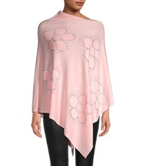 la fiorentina women's flower-embellished poncho - pink