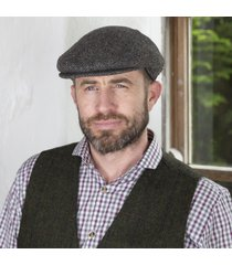 irish wool trinity flat cap gray-check medium