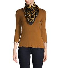 chain-print silk scarf