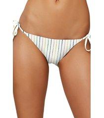 women's o'neill bridget side tie bikini bottoms, size large - ivory