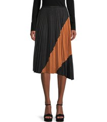 avantlook women's colorblock pleated skirt - black - size m