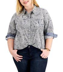 tommy hilfiger plus size paisley shirt