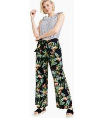 charter club tie-waist jungle-print pants, created for macy's